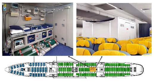 Медицинское транспортное купе в самолете авиакомпании Люфтганза. Рис. с сайта airlinereporter.com