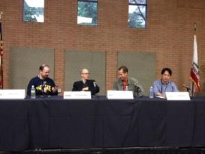 John Scalzi, Lev Grossman, Frank Beddor, and Charles Yu.