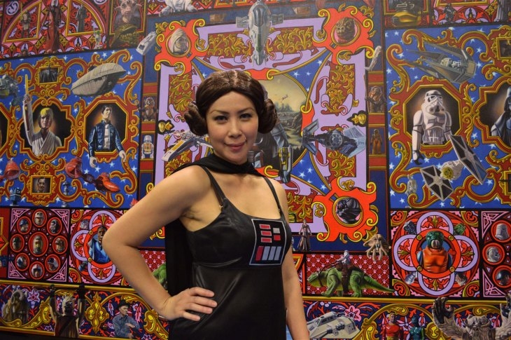 Leia Vader blends perfectly into Robert Burden's amazing Space Opera paintingat San Diego Comic Con 2015