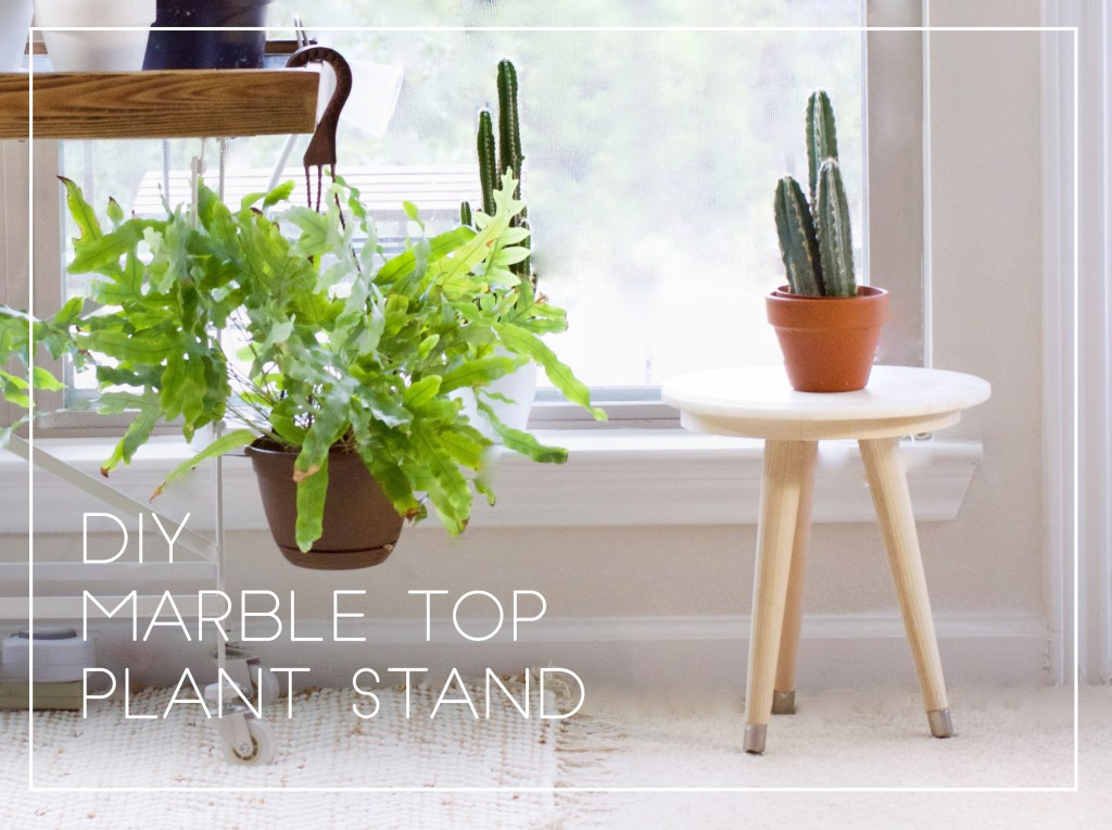 DIY Mid Century Marble Top Plant Stand