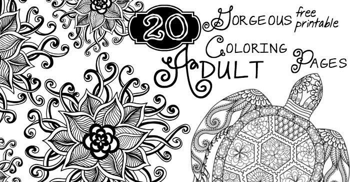 20 gorgeous free printable adult coloring pages fb - Free Printable Adult Coloring Pages 2