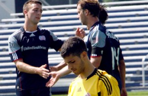 Ryan Kinne (left) and Zack Schilawski celebrate Schilawki's 91st minute game winner in the Revs Reserves 2-1 win over Toronto FC on September 2, 2011.  (Photo by CHRIS ADUAMA/aduama.com)