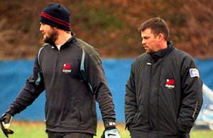 John Murphy (right), seen here with former Revolution goalkeeper Adin Brown, served as an assistant coach for the Revs from 2000-2004. (Photo by Art Donahue/artdonahue.com)