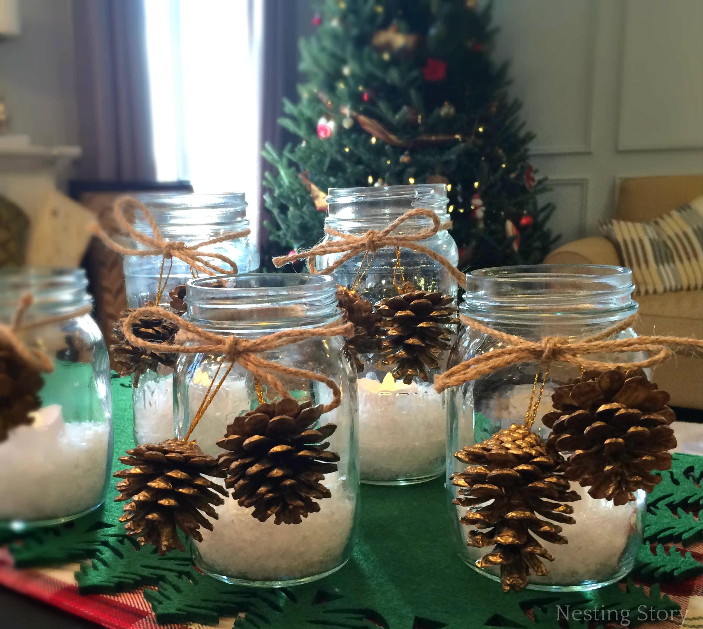diy christmas mason jar candles nesting story. Black Bedroom Furniture Sets. Home Design Ideas