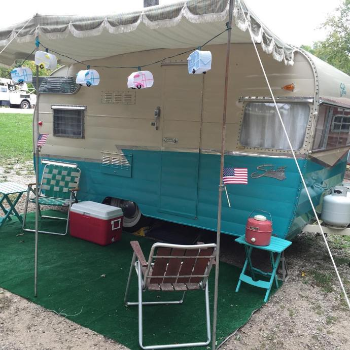 Classic Shasta VintageTinTrailer vintagestyle vintageairstream fallcamping vintagetrailer vintagecamper rally nofilter