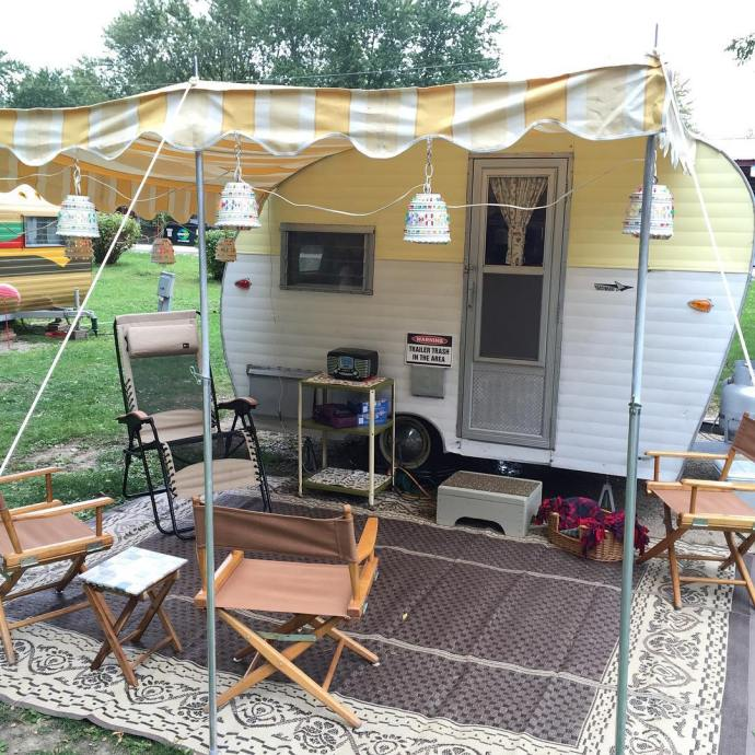 Butter beauty VintageTinTrailer vintagestyle vintageairstream fallcamping vintagetrailer vintagecamper rally