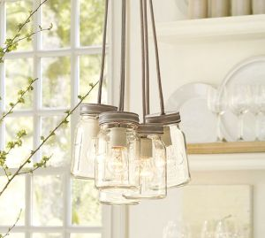 New lighting in the vintage-style kitchen, the Exeter light from Pottery Barn