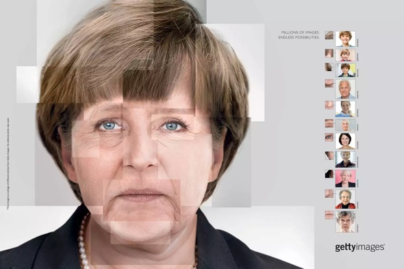This collage of Angela Merkel made entirely out of stock images took AlmapBBDO 4 months.