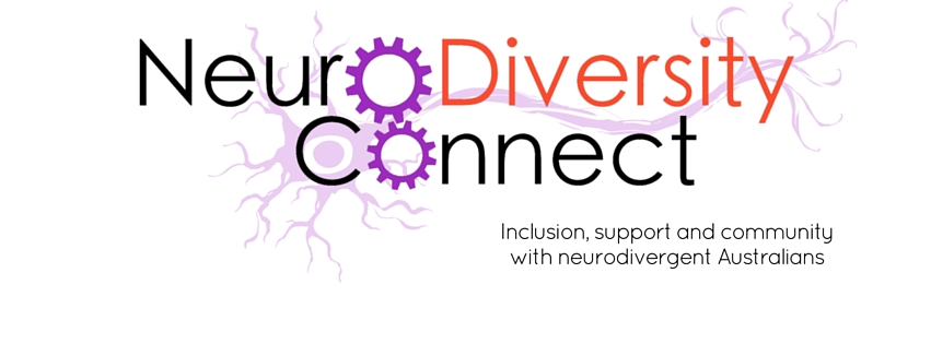 Image is a logo with purple cogs in the place of the O&#39 and a purple neuron behind the text: NeuroDiversity Connect. Beneath that, text says: Inclusion, support, and community with neurodivergent Australians.