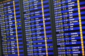 The image shows a computerized flight time table with numerous cities and flight times.