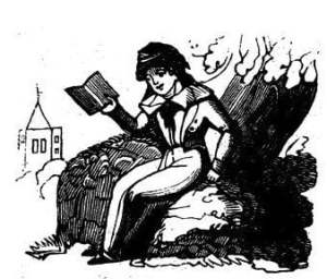 This is a drawing of a child reading a book.