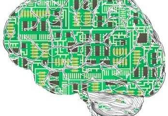 The image shows a brain made up of computer chips.