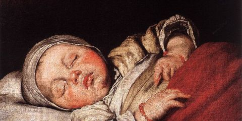 This is a painting of a sleeping child.