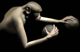 The image shows the monkey moving a ball.