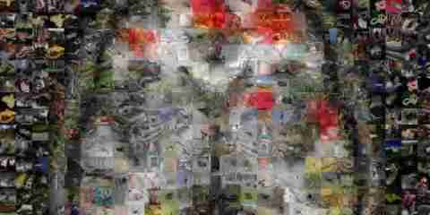 The image shows a brain made out of a murel of images.