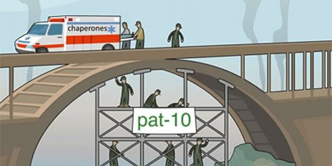This image shows a cartoon of people mending a bridge and an ambulance with the word Chaperones on the side.
