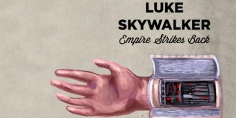 This image shows an illustrative drawing of Luke Skywalker's prosthetic hand.