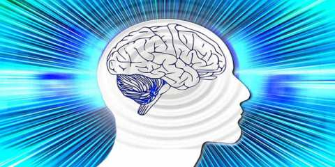 The image shows the outline of a human head and brain. Surrounding the head are streaks of blue.