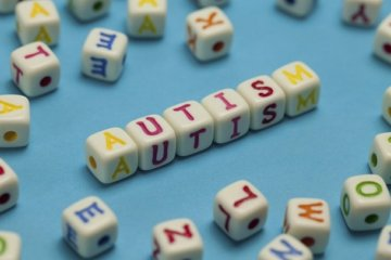 Image shows the word Autism spelled out on word dice.