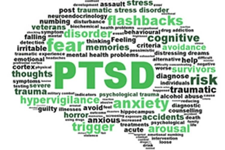 Image shows the shape of a brain made up of words associated with PTSD.