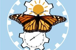 Image of a clock and butterfly.