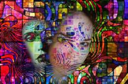 Image shows a swirly, hallucination-like image of a girl to imply LSD use.