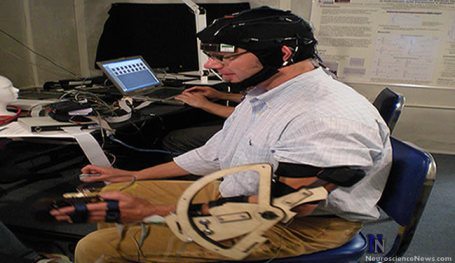A man has an eeg cap on and has his arm in the test equipment.