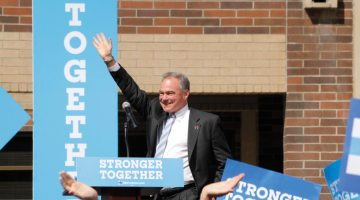 Jacob Solis /Nevada Sagebrush  Democratic vice presidential hopeful Tim Kaine waves to the crowd gathered in the UNR Student Services circle on Thursday, Sept. 22. Members of the community and students alike showed their support despite chilling weather conditions.