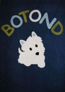 Fehér kutyus sötétkék alapon