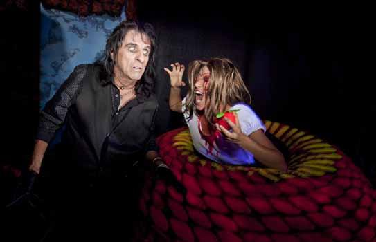 Alice Cooper and creature at his maze