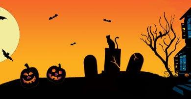 Halloween Haunted house bats cats pumpkins
