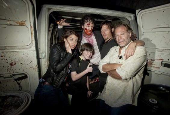 Lauren Cohan, Norman Reedus, Chandler Riggs & Greg Nicotero from The Walking Dead