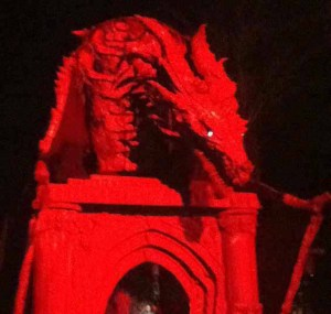 An angry dragon greeted visitors entering Night of the Living Zoo.