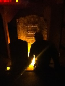 Tombstone in the basement of Stage 24