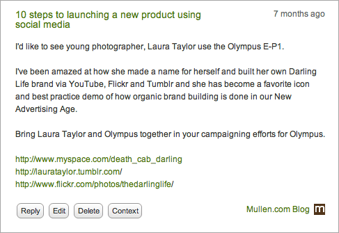 I'd like to see young photographer, Laura Taylor use the Olympus E-P1