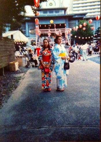 Nina Coomes and sister in Japan