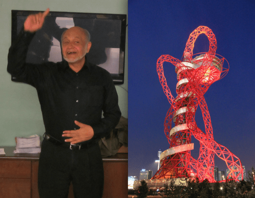 Cecil Balmond and the ArcelorMittal Orbit. Photos: John Greenfield, Wikipedia