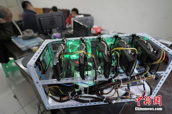 虛擬貨幣挖礦機。 圖片來源:中新網