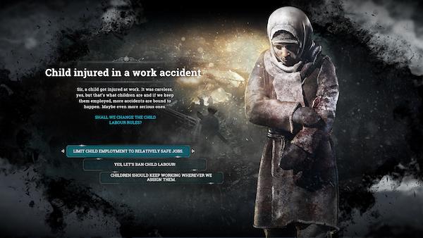 冰封龐克是一款令玩家反思道德的遊戲。 圖片來源:Frostpunk