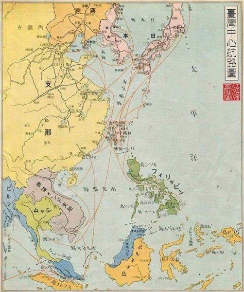 大日本帝國時期台灣航線圖。