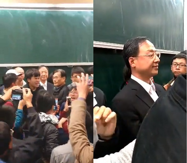 江宜樺應邀到台大演講卻遭學生抗議。 圖片來源:今日新聞