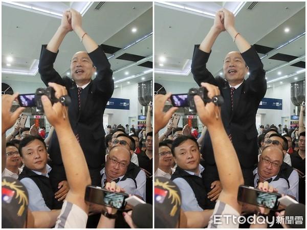 韓國瑜要隨扈將他抬起。 圖片來源:ETToday