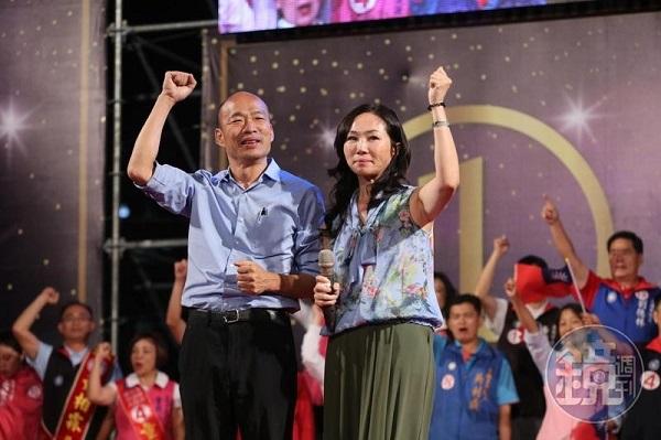 韓國瑜與李佳芬被爆收錢事件造成支持度下滑。 圖片來源:鏡週刊