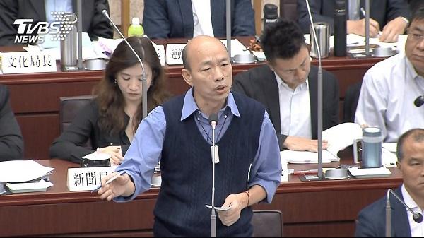 韓國瑜回應質詢一律說「高雄發大財」。 圖片來源:TVBS