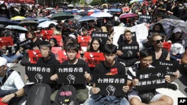 大多數台灣人支持香港反送中抗議活動。 圖片來源:美國之音