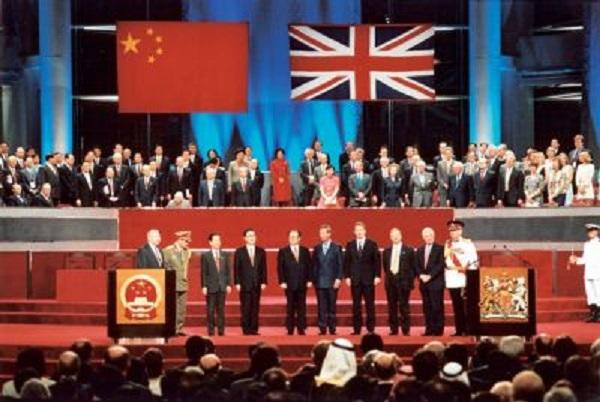 香港九七回歸典禮。 圖片來源:中評網