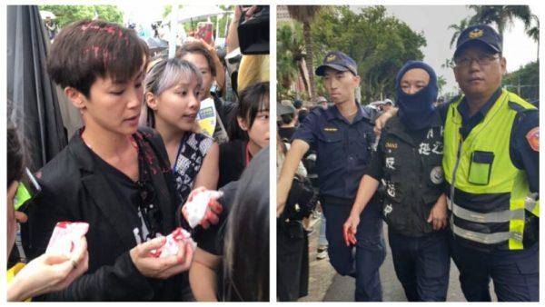 香港歌手來台宣揚反送中遭統促黨潑漆。 圖片來源:新唐人