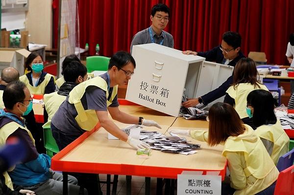香港區議會選舉親中派崩盤、泛民派大勝。 圖片來源:上報