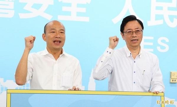 國民黨總統候選人韓國瑜、張善政的選舉格調持續下探。 圖片來源:自由時報