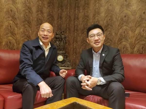 新任國民黨黨主席江啟臣南下訪韓國瑜。 圖片來源:中時電子報